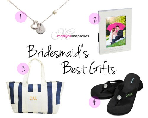 A collage of personalized bridesmaid gift ideas from Marilyn's Keepsakes.