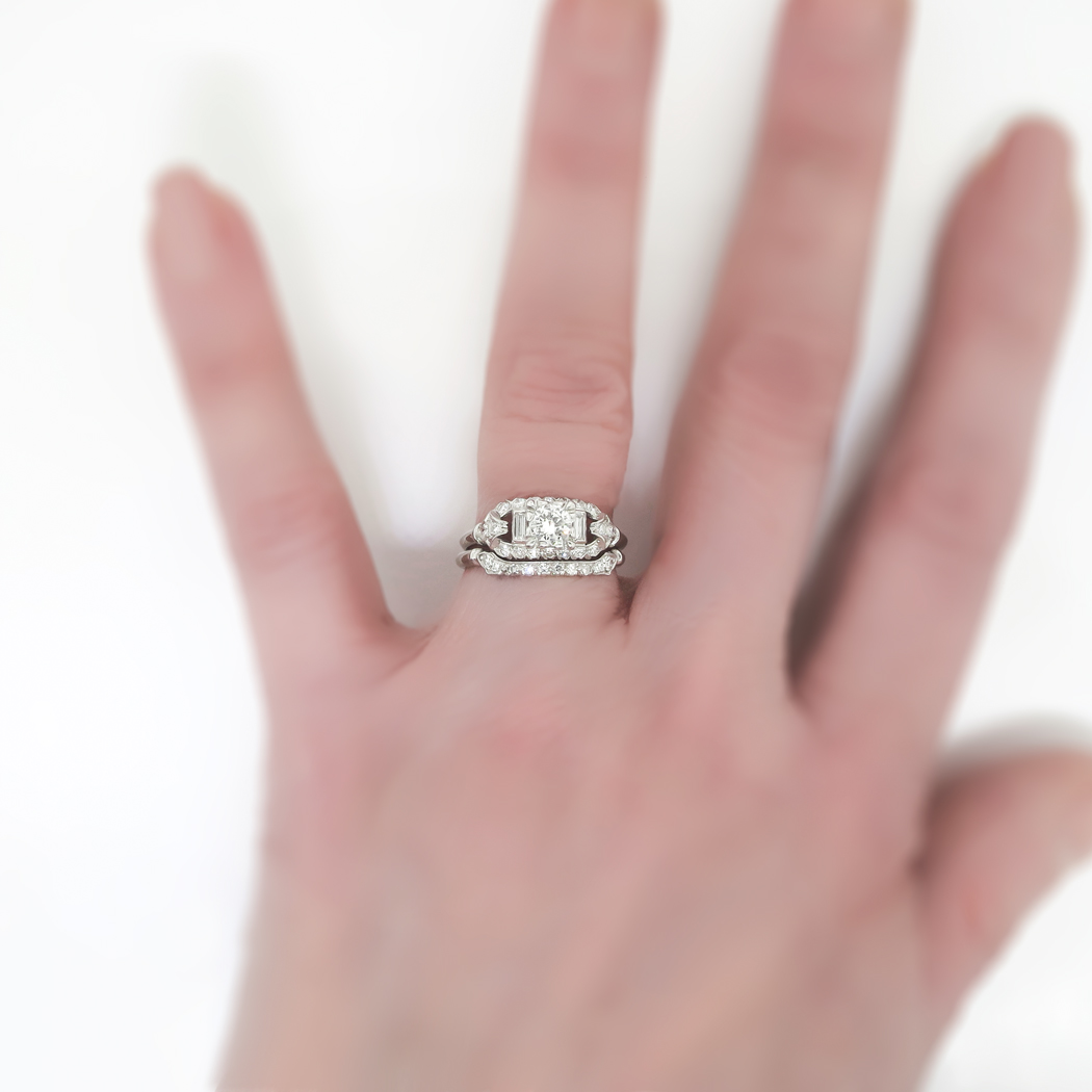 Vintage Art Deco 1930s 81ct tw Rare Engagement Wedding Ring Band Set Platinum  Antique