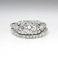 Vintage Art Deco 1930's .81ct t.w. Rare Engagement Wedding ...