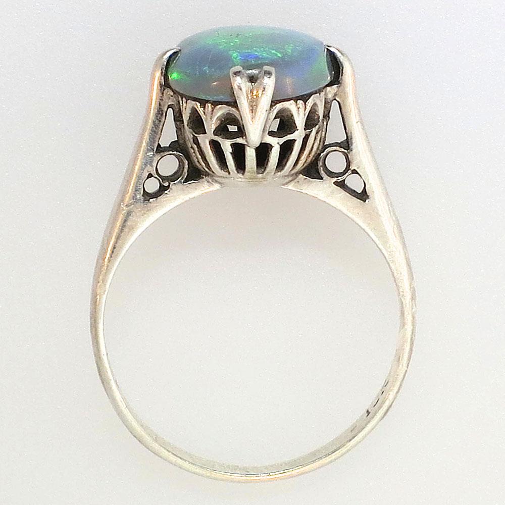 Edwardian Solid Black Opal Filigree Solitaire Ring 18k