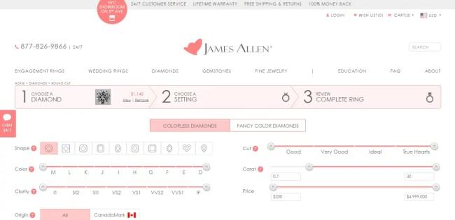 James Allen Design your own ring option