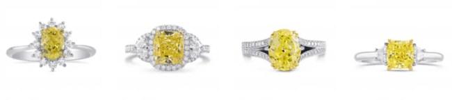 Yellow diamond with white gold