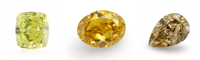 Yellow diamond with different secondary hues