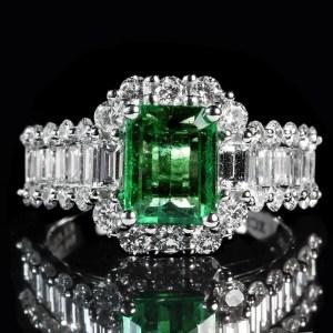 May birthstone Emerald-diamond engagement ring