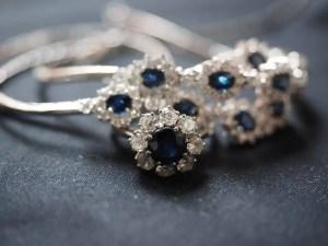 Sapphire-diamond floral engagement ring