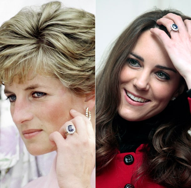 Kate Middleton and Diana Princess of Wales with their sapphire ring