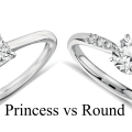 Princess Vs Round shape diamond side by side