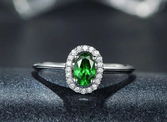 tsavorite ring with diamond halo