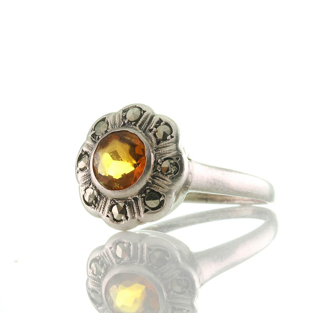 Antiker Art Deco Ring Blume Silber 835 mit Goldtopas und