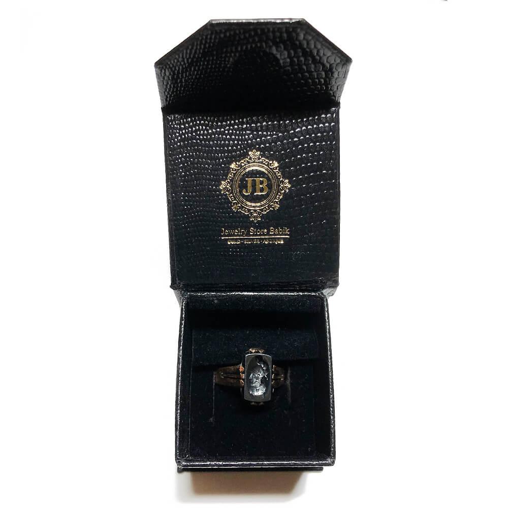 Antiker Art déco Ring Herren Siegelring Gold 585er und Hämatit mit Wappen Intaglio