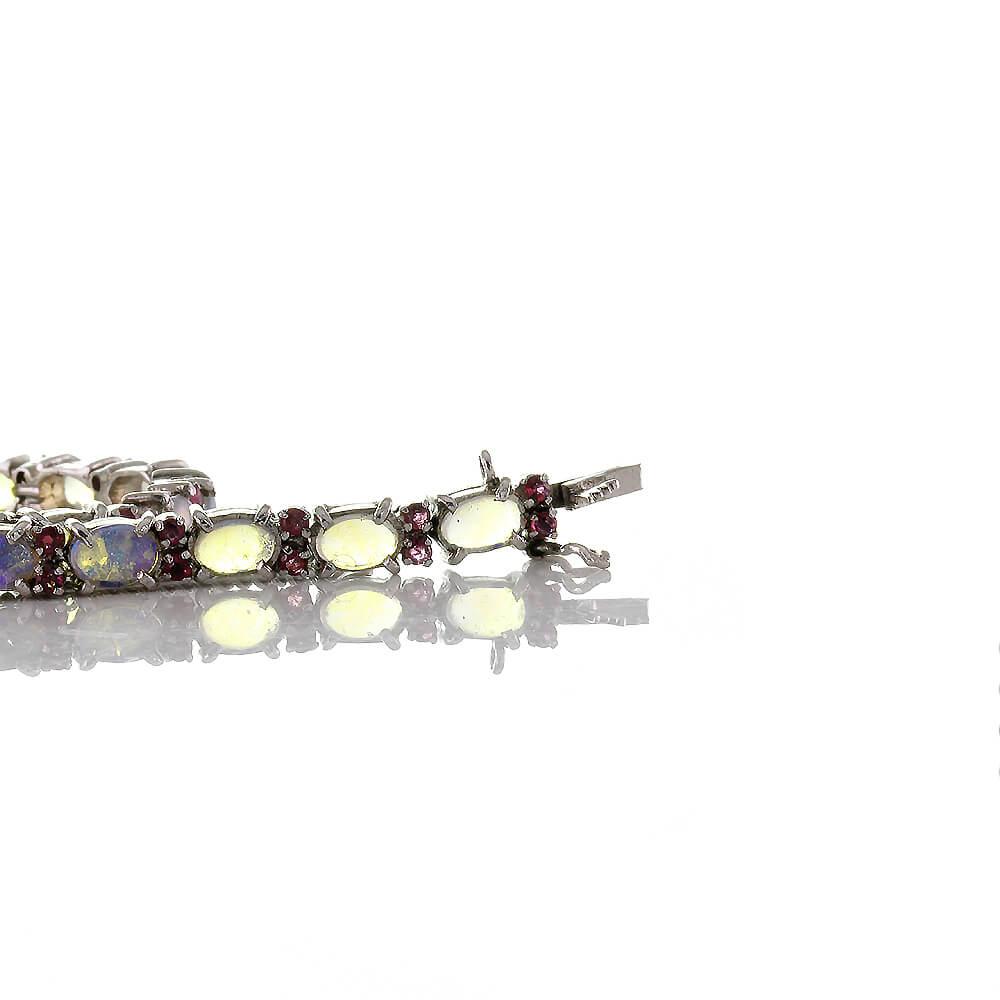 Hochwertiges modernes Edelstein Armband aus Silber 925 mit natürlichen Opal und Rubinen