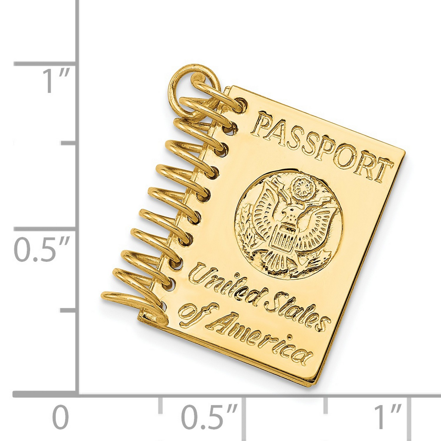 14k Yellow Gold United States Of America Words On Passport