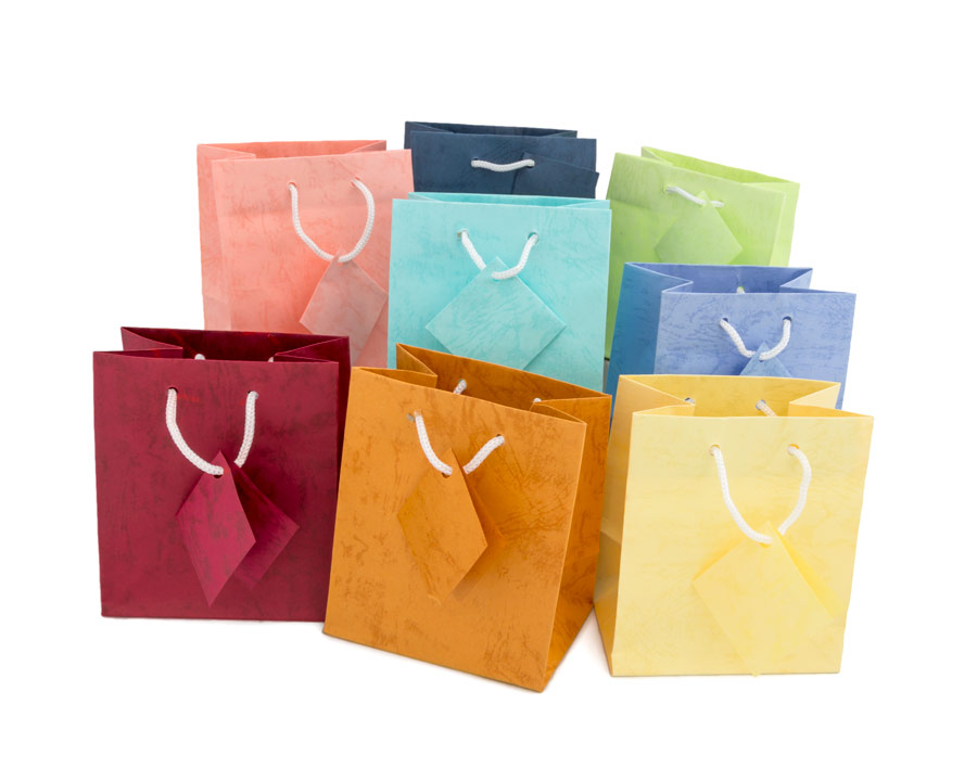 Assorted Pastel 4x4 Tote Gift Bags  jewelry display