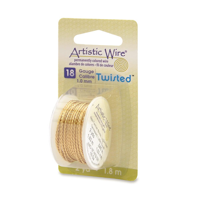 Artistic Wire 18 Gauge Non-Tarnish Brass Twisted Wire | jewelry wire gauge to mm | Beads in Bulk