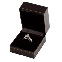 Cartier Style Ring Box Black Leatherette nice jewelry box