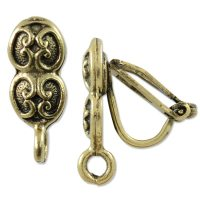 Earring Clip-On 17x7mm Pewter Antique Gold Plated ...