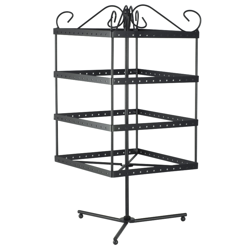 Rotating Black Metal Earring Display Holds 96 Pairs of