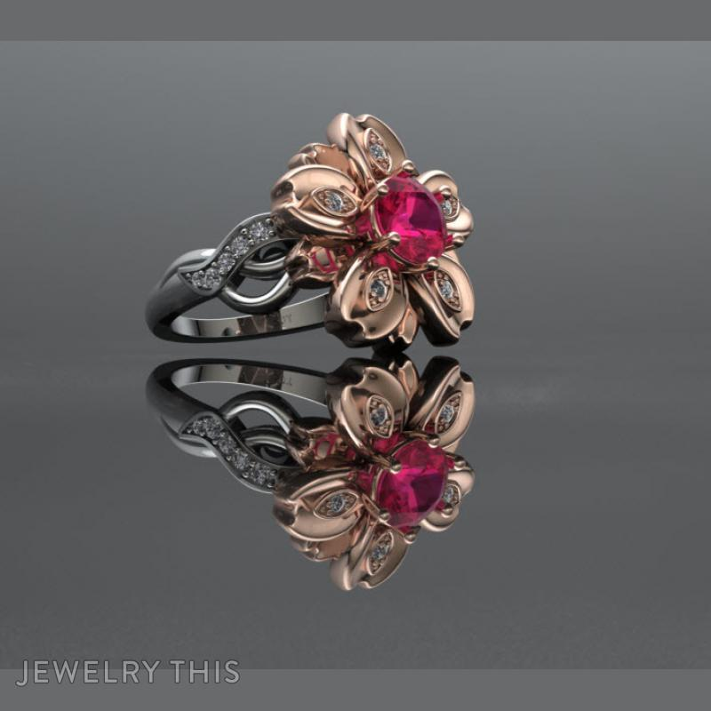 3d jewelry design floral