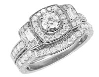 Ladies 14K White Gold Real Baguette Diamonds Wedding ...