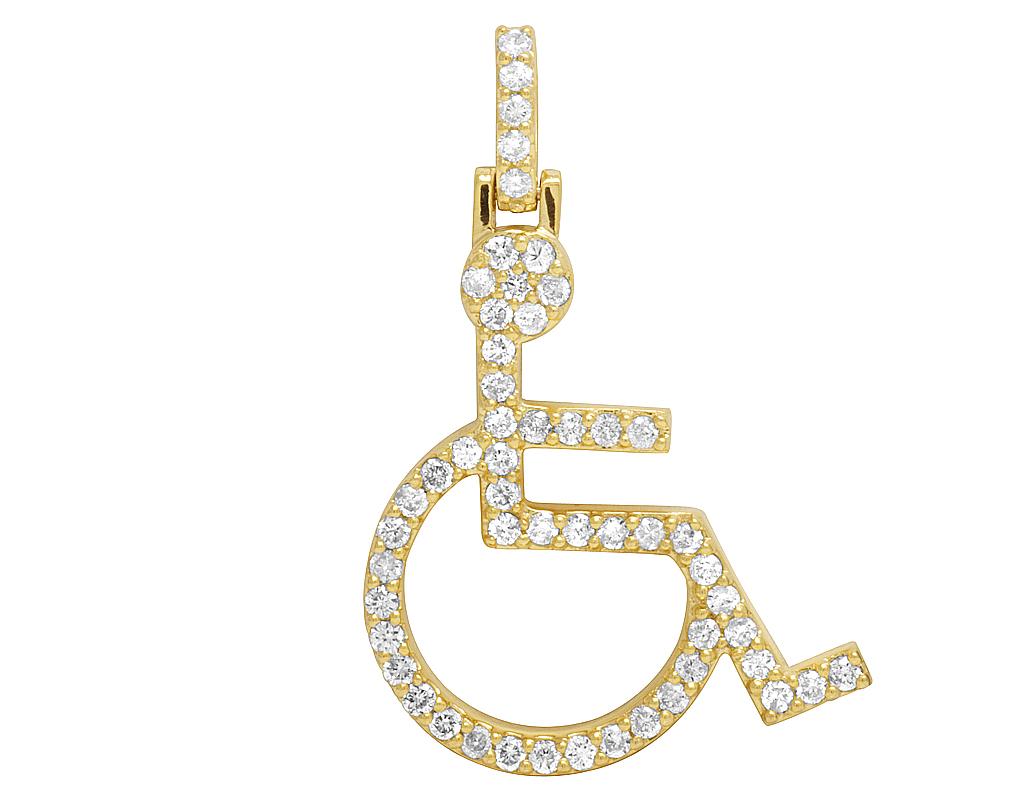 wheelchair emoji realspace fosner high back bonded leather chair 10k yellow gold handicap sign symbol diamond charm pendant 1ct