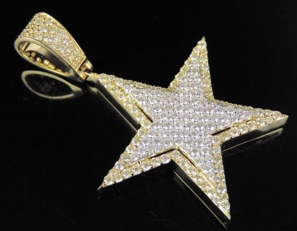 Men' Diamond Star Pendant In 10k Two Tone Yellow White