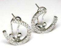 Stunning Diamond Horseshoe Earrings 0.41 dwt in 14k white ...