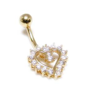 <br /> Bold Cubic Zirconia CZ Heart Belly Ring<br />