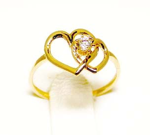 <br /> Double Heart CZ Promise Ring - Size 6.0<br />
