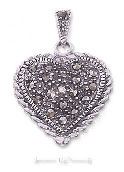 <br /> Sterling Silver 20mm Marcasite Heart Charm With Roped Border<br />