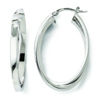 14k White Gold Polished Double Oval Hoop Earrings - 3.6 Grams