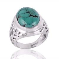 Promise Rings for Men Turquoise Filigree Silver Mens ...