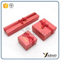 Promotional red handmade paper jewelry gift box with ribbon