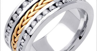 Diamond Braided Wedding Band 14K Two Tone Gold