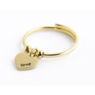 anello cuore oro pendente