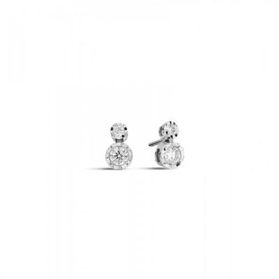 Orecchini pendenti in oro bianco a 18kt ReCarlo con diamanti da 0.18ct Face Round
