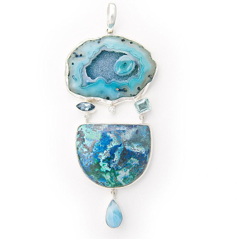 Large drusy agate with larimar pendant jewelsmith larimar pendant aloadofball Gallery