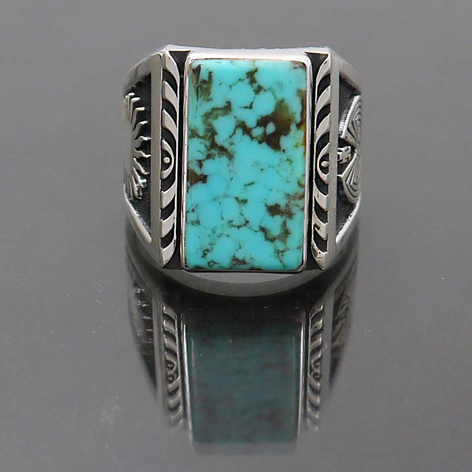 Sterling Silver New Mexico Turquoise Ring With Native