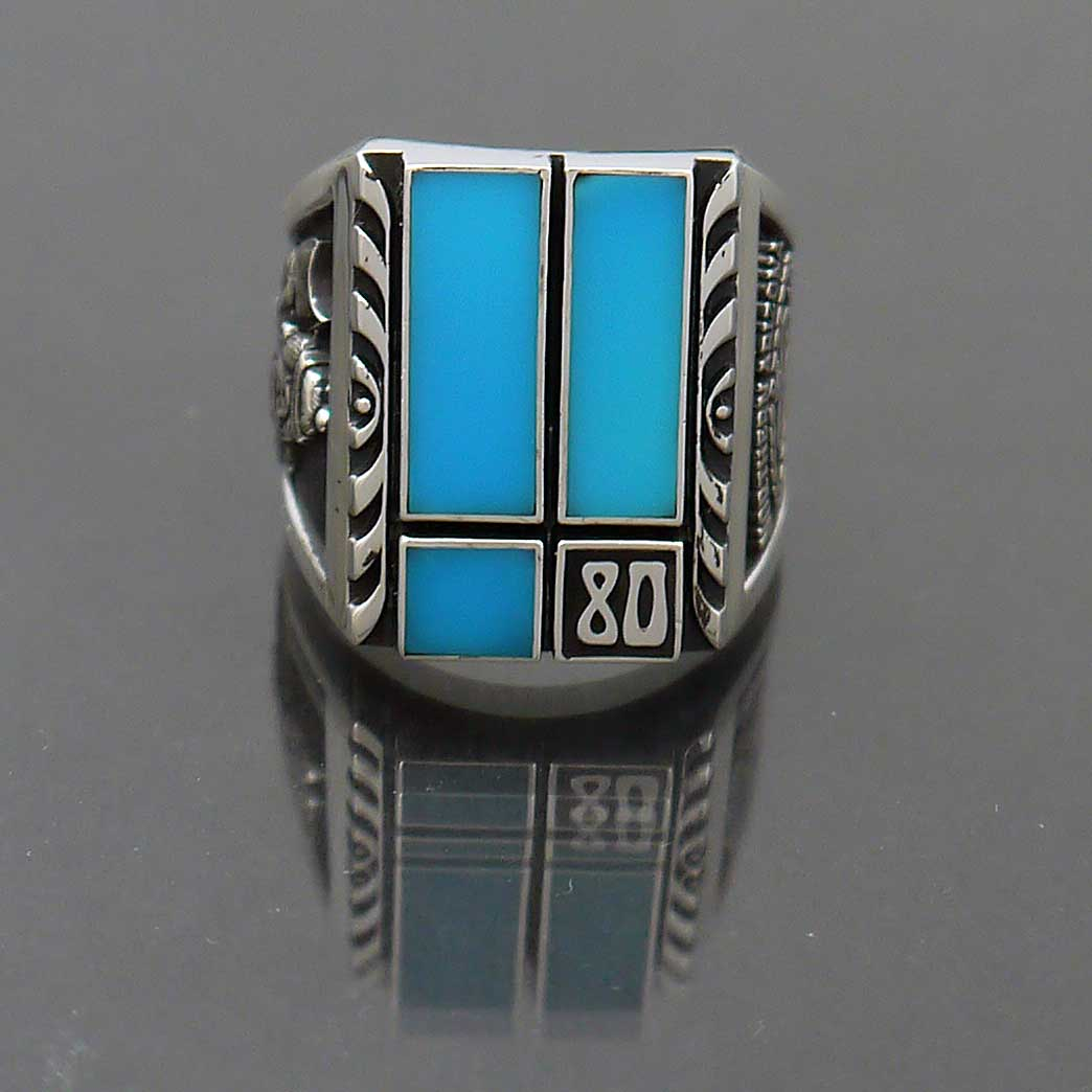 Sterling Silver Turquoise Class Ring, NAU