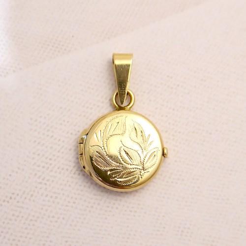 14k Gold Small Round Locket
