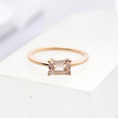 Emerald Cut Morganite Ring in 14k Rose Gold