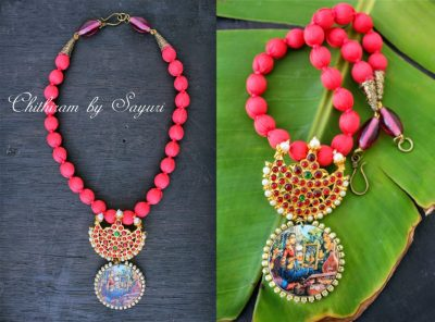 kemp necklace with radha krishna  Purva Raga