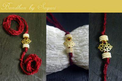 designer gold rakhi