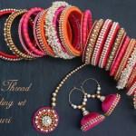 Silk thread wedding jewellery in pink