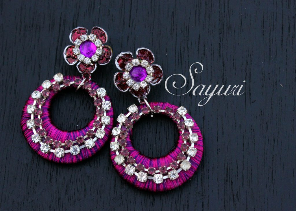 Pink and purple silk jewelry