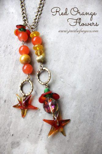 red orange flower necklace