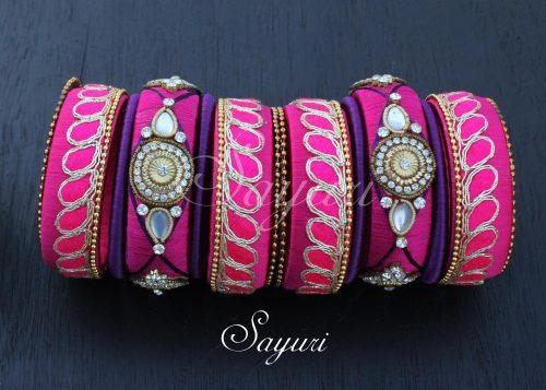 zardosi pink bangles
