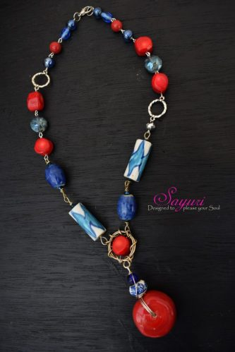 Indigo and cherry necklace