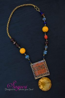 indigo dabu and copper dome necklace