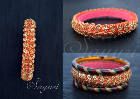 embroidered orange fabric bangle