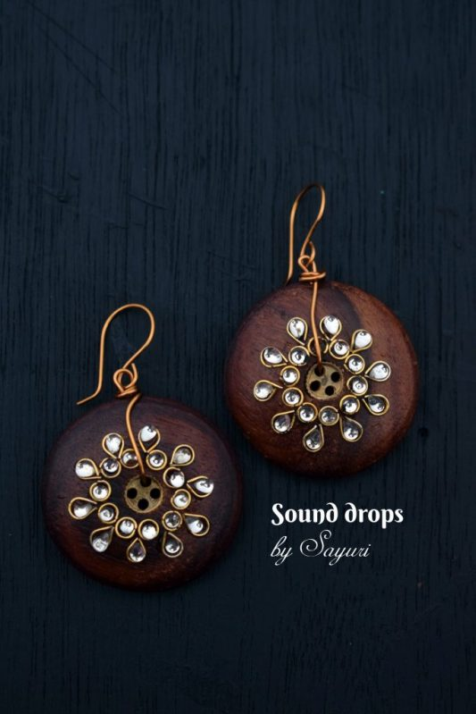 wooden button earrings Sound drop earrings
